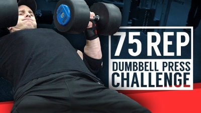 75 Rep Dumbbell Press Challenge | The Gains Plan Episode 1